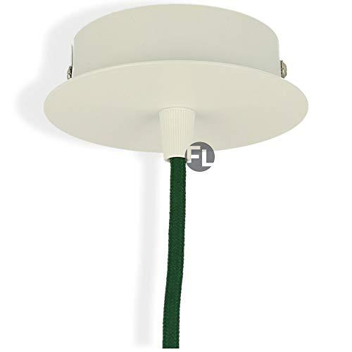 Flairlux Baldaquino de metal, 1 orificio, para colgar lámparas, roseta de techo para la fijación de lámparas colgantes, accesorios para la iluminación creativa, acabado macizo con cable de tierra