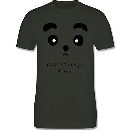 Eulen, Füchse & Co. - Panda everything's fine - Herren Premium T-Shirt Army Grün