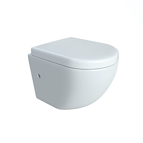 Design Wand Hänge WC ohne Spülrand Spülrandlos Toilette Sitz Softclose hängend 4