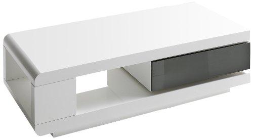 Couchtisch Wohnzimmertisch 360 Grad Drehbar Hochglanz Weiss 120 X 60 36 Cm 59031WG4