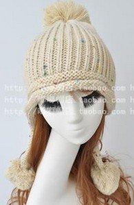 Winter Hat Knit Russian Cute Trapper Warm Cool Girl Women Cream Puff Dangle