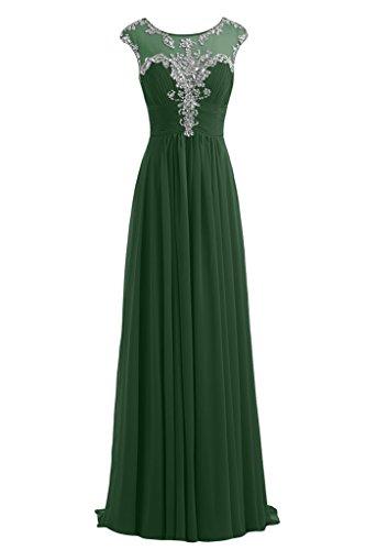 Gorgeous Bride Festlich Lang A-Linie Chiffon Tuell Applikation Abendkleider Festkleider Ballkleider Dunkelgruen