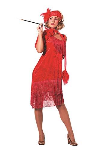 Kostüm Showtanz - The Fantasy Tailors Charlston-Kostüm Damen Rot mit Fransen und Kopfschmuck Elegantes Damenkostüm Silvesterkleid Tänzerin Showtanz Karneval Fasching hochwertige Verkleidung Größe 46 Rot