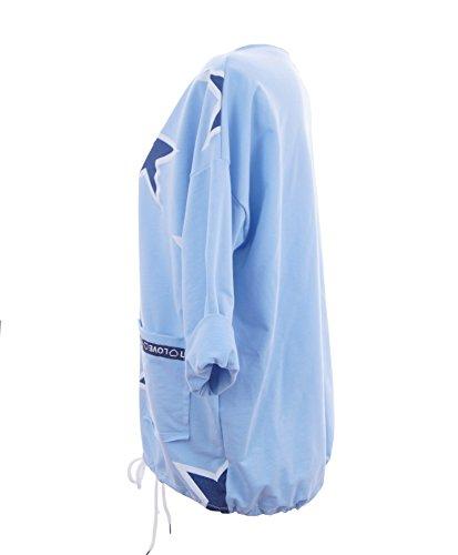 Damen Shirt Bluse Longshirt Longsleeve mit Glitzer Sternen Sweatshirt Hoodie Blau