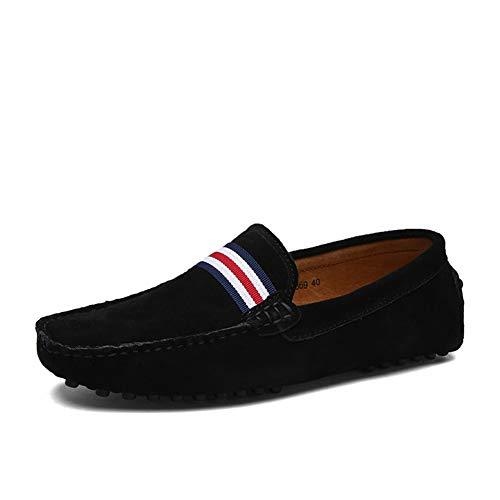 GPF-fei Men ' S Lederschuh, Fall Spring Komfort-Wanderschuh Fashion Loafers & Slip-One Soft Flat Shoes Leichtbauschuh Leichtbau Schuhe,Black,43 Flats Loafers Slip