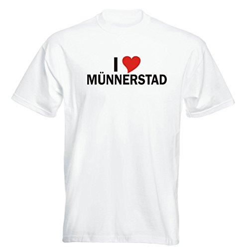 T-Shirt mit Städtenamen - i Love Münnerstadt- Herren - unisex Weiß