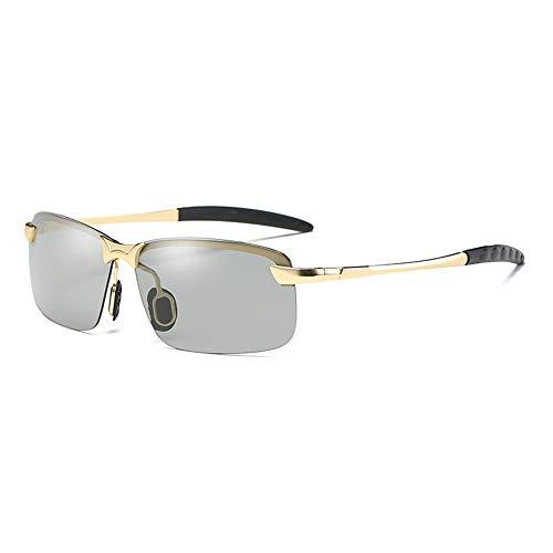 GXM-SG Dual-Use-Sonnenbrillen für Tag und Nacht, intelligente lichtempfindliche Sonnenbrillen, hochauflösende Nachtfahrbrillen für Herren und UV400-Schutzbrillen mit Blendschutz,Bgoldframe