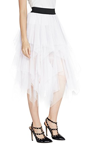 Urban GoCo Donna Retro Tutu Gonna in Tulle Elastico Stile Rockabilly Gonne a Pieghe Petticoat Bianco