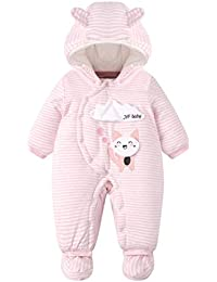 b8e4896176 ARAUS Pagliaccetto Imbottito con Cappuccio da Bimbo Neonata Bambina Romper  Baby Tute Imbottitura in Cotone 0