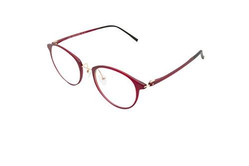 XYAS Mode TR90 Unisex Glas Brillenfassung Superleicht klare linse Wechselgläser Nerdbrille Brillenfassungen(Rot)