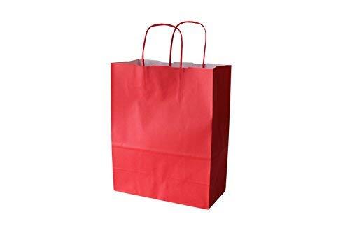 (PGV Papiertragetaschen Farbig mit Kordelhenkel 23 + 11 x 29 cm 110 g/m² (250 Stück, Rosso / Rot))
