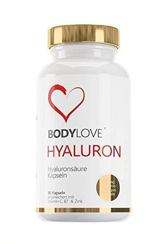 Bodylove® Hyaluronsäure Kapseln Hochdosiert mit 700mg 90 Vegane Kapseln Angereichert mit Vitamin C, Biotin Zink - Für Haut Haare, Anti-Aging, und Gelenke
