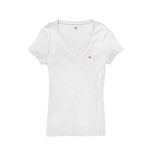 Tommy Hilfiger Damen T-Shirt, Women's Signature T-Shirt, White, XL (Polo-shirt Hilfiger Tommy Woman)