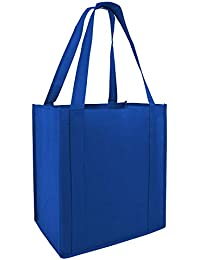 (Set Of 25) Heavy Duty Grocery Shopping Tote Bag W/Strong Reinforced Handles (ROYAL)