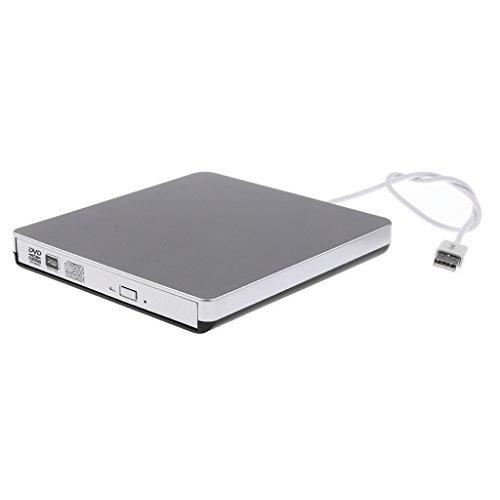 MagiDeal Graveur DVD Externe Lecteur Portable USB 2.0 CD DVD pour Ordinateurs de Bureau PC Compatible avec Mac OSX/WinXP/Win8 /Win10 – Argent 142 * 147 * 20mm