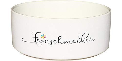 CADOURI - Keramik Hundenapf Futternapf Katzennapf mit Schriftzug FEINSCHMECKER - 650 ml
