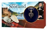 LOVE PEARL IN CLAMSHELL LOCKET & SILVER NECKLACE SPIRIT OF SCOTLAND