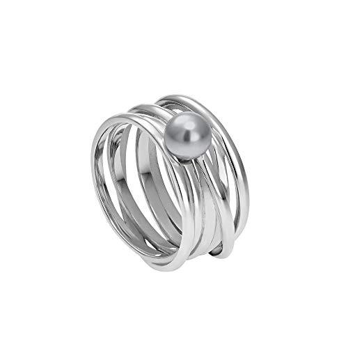 Heideman Ring Damen Serpens aus Edelstahl Silber farbend poliert Damenring für Frauen mit Swarovski Perle Weiss grau oder schwarz rund 6mm Perlring Light Grey Gr.58 hr24268-3-15-58