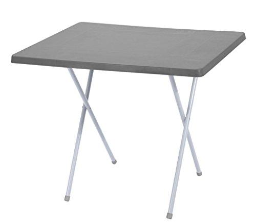 Spetebo Campingtisch klappbar und höhenverstellbar auf 2 Größen - Farbe: grau - 79cm x 60cm x 50-62 cm