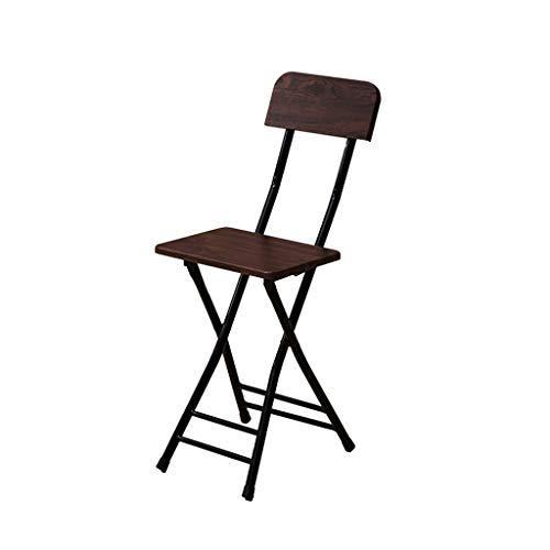 GXJ-stool Schlafzimmer Klappstuhl, Metall Holz Bank Rutschfeste Stuhl Wohnzimmer Küche Klappstuhl Outdoor Tragbare Kleine Hocker (Farbe : Dunkelbraun) -