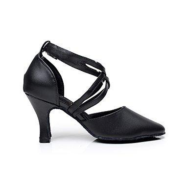 XIAMUO Anpassbare Damen Tanz Schuhe Leder Leder Latein Sandalen niedrigem Absatz Praxis/Anfänger/Professional/Innen-/PerformanceBlack/ Schwarz