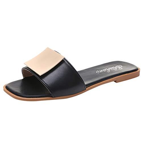 ✿✿Eaylis Damen Sandalen Einfarbige Hausschuhe Aus Metall