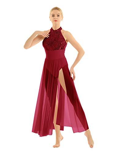 iEFiEL Damen Kleider Pailletten Tanzkleid Latein Salsa Tango Neckholder Ballettkleid Rückenfrei Cocktailkleid Split Partykleid Burgundy X-Large - Neckholder Salsa