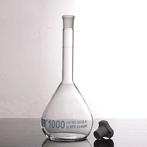 juler Vetreria Laboratorio Chimica analitica Pallone volumetrico 1000ml Bianco stoccaggio Liquido Strumento di stoccaggio Strumento di Vetro Un Grado,Trasparente,1000ml
