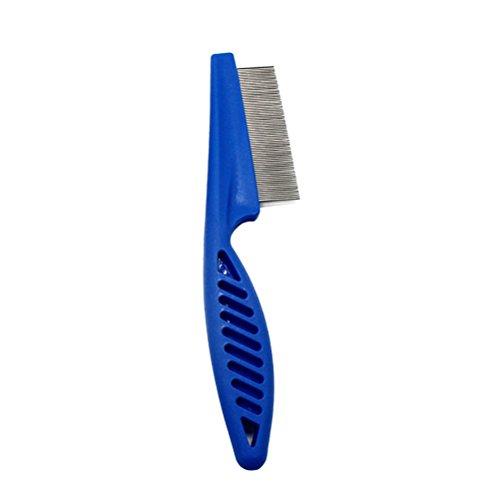 UEETEK Floh bürste Haustier bürste Edelstahl Zahn Kamm Läusekamm Haustierpflege Reinigung Werkzeug (Blau) -