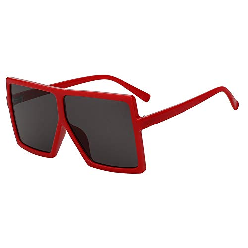 Shihuam Übergroße quadratische Frauen-Sonnenbrille Er Fashion Glasses für weibliche Retro- Weinlese-Sonnenbrille Big Oculos,Rote w Schwarze Linse