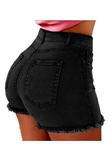 Fliegend Damen Jeansshorts Zerrissen Kurze Hosen Übergroße Sexy Hotpants High Waist Denim Shorts Mit Quaste Ripped Shorts 2XL -