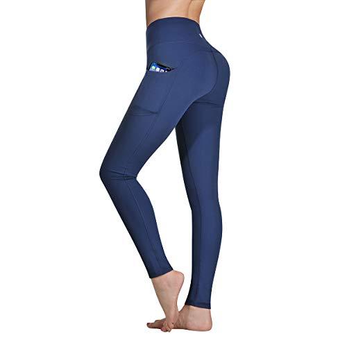 Occffy Legging de Sport Femme Pantalon de Yoga avec Poches Yoga Fitness Gym Pilates Taille Haute Gaine DS166 (Bleu Foncé, M)