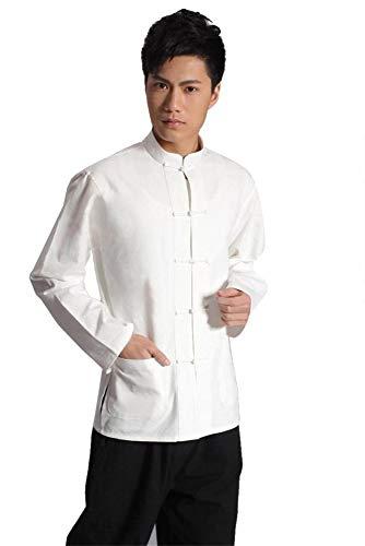 Antike Kostüm Von China - XPF Traditionelles China Antikes Kostüm Kampfkunst Tangzhuang Kung Fu Langarm Jacke Anzüge Hemd Uniform Männer,White-L