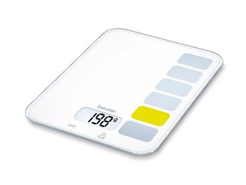 Beurer KS-19 - Balanza de cocina, 5 kg/1 gr, botón táctil, color blanco