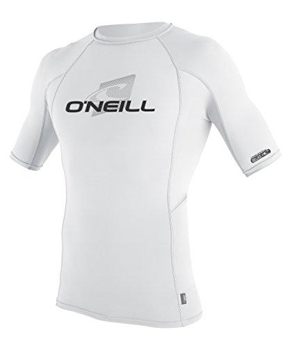 O 'Neill Neoprenanzug UV Sun Schutz Herren Skins Short Sleeve Crew Sun-Shirt Rash Guard, Herren, White/White/White (Skins Guard Neoprenanzüge Rash Crew)