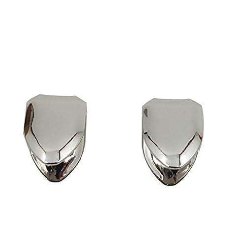 Coffret de dents individuelles Hip Hop avec un placage en or blanc 24 carats x 2 grillz pour la partie supérieure et inférieure de la bouche + 2 gouttières de fixation supplémentaires