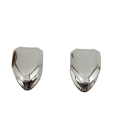 Grillz placcato in oro 24K con denti aguzzi e croci per bocca set denti Hip Hop superiore inferiore + 2 barre di modellatura extra