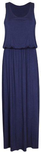 Damen Neu Elastisch Geraffte Taille Toga Racerback Damen-kleider Einfarbig Ärmellos Langes Top Maxi Kleid - Marineblau, S/M
