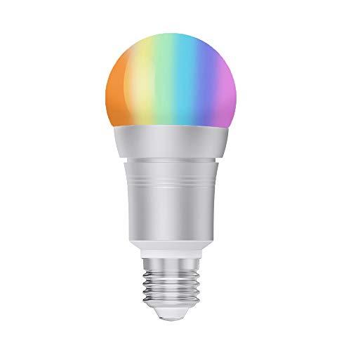 Bombilla Inteligente, Bombilla Smart LED WiFi Ajustable y Lámpara Multicolor Funciona con Alexa, Echo, Google Home y IFTTT, E27 RGB + Blanco Cálido 9W Equivalente 60W Bombilla de Tungsteno