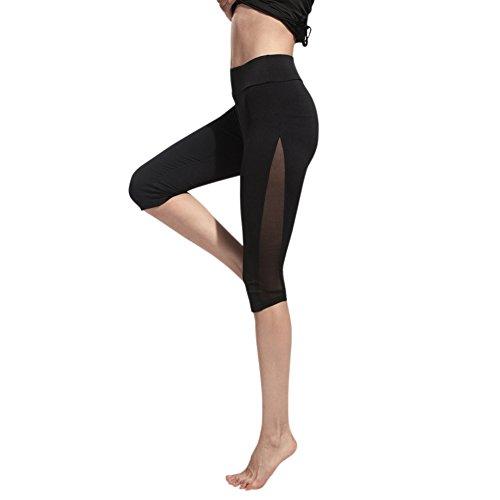 iBaste Damen Mesh Sport Leggings Yoga Pants Schwarz 3/4 Sporthose Caprihose mit Quick Dry Function schwarz Gr.XL