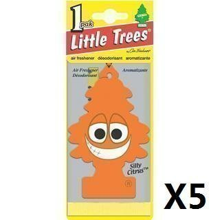 silly-citrus-scent-smell-carded-magic-tree-in-car-van-air-freshener-pack-of-5