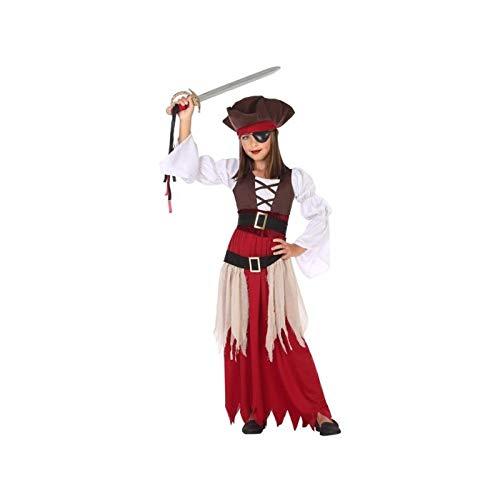 ATOSA 56962 COSTUME PIRATE 10-12, Mädchen, Braun/Weiss/Rot, 10 a 12 años (Fee Kostüm Teen)