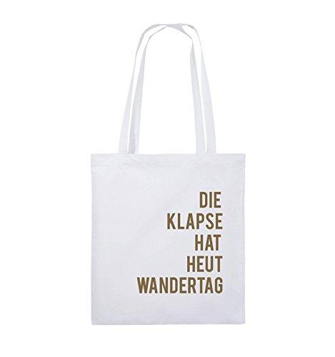 Comedy Bags - DIE KLAPSE HAT HEUT WANDERTAG - Jutebeutel - lange Henkel - 38x42cm - Farbe: Weiss / Hellbraun