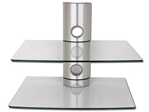 DRALL INSTRUMENTS Wandhalterung für DVD Bluray Player Konsole Boxen Ablage (2 Glasböden) silber/glas Modell: GL11CS (Wandhalterung Bluray-player)