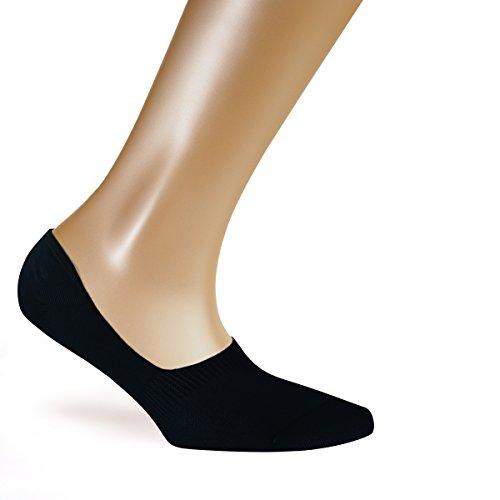 5er Pack Füßlinge Damen | Unsichtbare + Rutschfeste Sneaker Socken mit Anti Slip | Größe 39-42, Schwarz (Loafers Baumwolle)