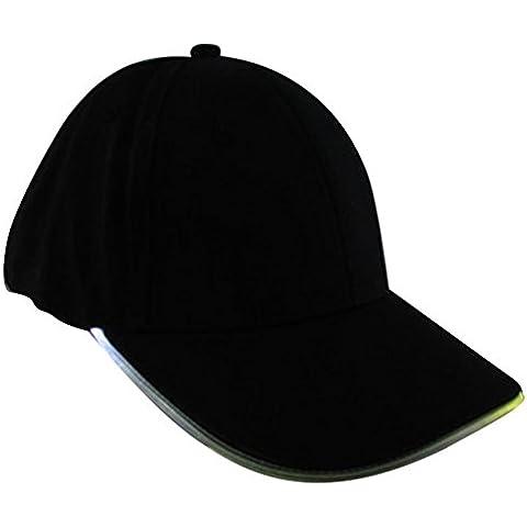 Highdas Partido con luz LED sombreros Negro luminosos Tela Baseball Viajes Glow Club Cap luz roja luz