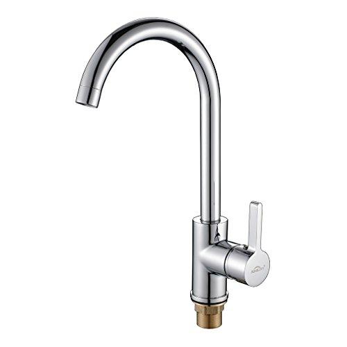 Auralum Küchenarmatur Spültischarmaturen Wasserhahn Küche, Niederdruck, 360°drehbar, chrom