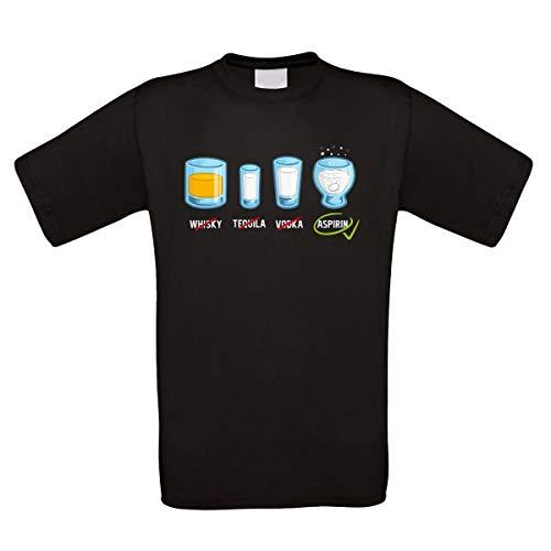 Herren T-Shirt schwarz Modell: Whisky Tequila Vodka Aspirin