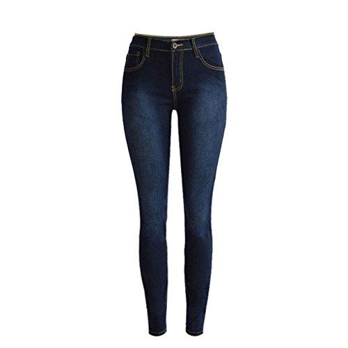 YunYoud Damen Denim Röhrenjeans Frau Mode Slim Fit Lange Hose Frauen Strecken Bleistift Jeans Beiläufig Straight Leg Jeans Gemütlich Boyfriend Jeans (XXL, Blau)