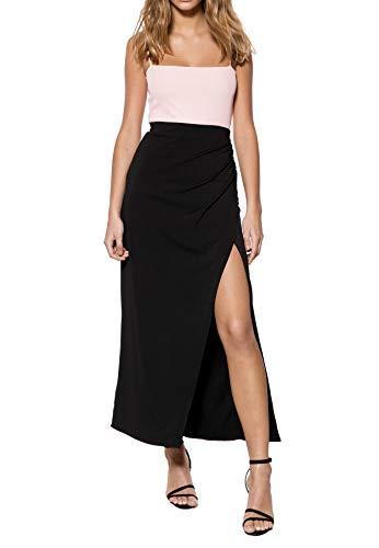 IVYREVEL Damen Maxi Slit Skirt Rock, Schwarz (Black 001), 34 (Herstellergröße:XS) (Slit Skirt Sexy)